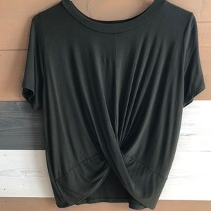 Olive Green Tie Front Woman's Top